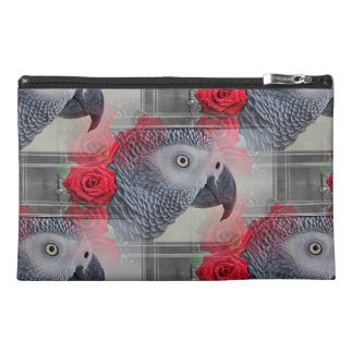 Dreamy African Grey with Red Roses Travel Accessories Bag