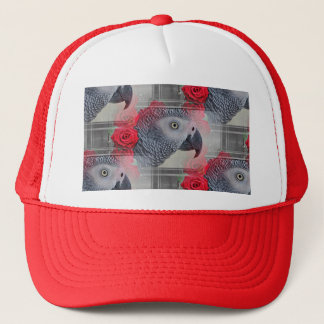 Dreamy African Grey with Red Roses Trucker Hat