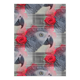 Dreamy African Grey with Red Roses Magnetic Invitations