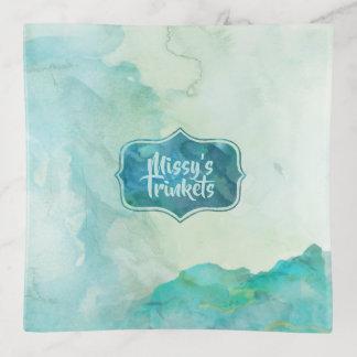 Dreamy Aqua Marble Watercolors Trinket Trays