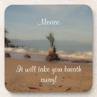 Dreamy Beach Scene; Mexico Souvenir Beverage Coaster