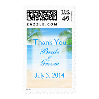 Dreamy Beach Wedding Thank You Postage Stamps