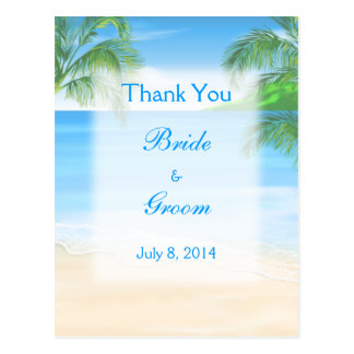 Dreamy Beach Wedding Thank You Postcard