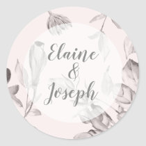 dreamy blooms blush Floral Spring Wedding Classic Round Sticker