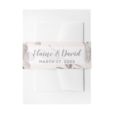 dreamy blooms blush floral Spring Wedding Invitation Belly Band