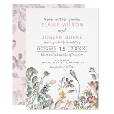 dreamy blooms blush floral wedding invitations