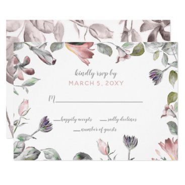 dreamy blooms blush floral wedding rsvp card