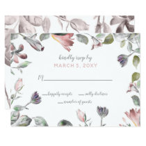 dreamy blooms blush floral wedding rsvp card