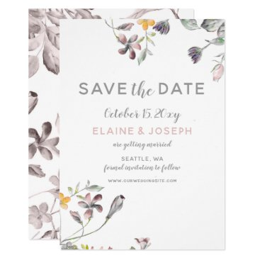 dreamy blooms blush floral wedding save the date card