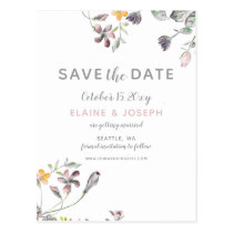 dreamy blooms blush floral wedding save the date postcard