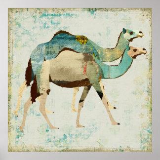 Dreamy Blue Camels Art Poster