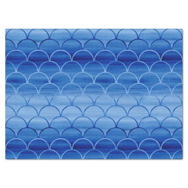 Dreamy Blue Painted Fan Shapes Pattern