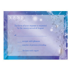 Dreamy Blue Winter Tree Wedding RSVP (4.25x5.6) Postcard