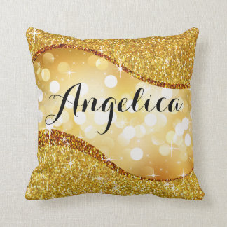 Dreamy Bokeh Glitter Bling Swoop Monogram | gold Throw Pillow