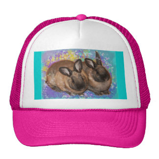 Dreamy Bunnies in Fantasy Land Colorful Mesh Hat