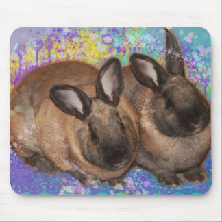 Dreamy Bunnies in Fantasy Land Colorful Mouse Pad