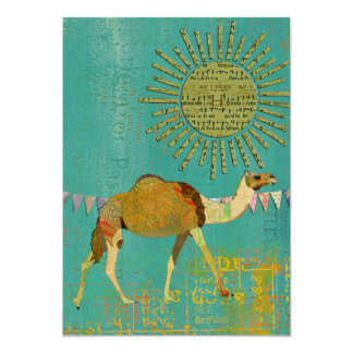 "Dreamy Camel Baby Shower Sunshine Teal Invitation 5"" X 7"" Invitation Card"