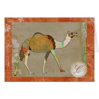 Dreamy Camel Monogram Notecard Greeting Cards