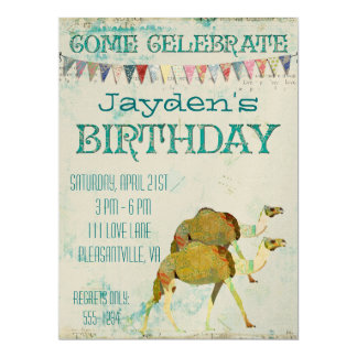 Dreamy Camels Birthday Invitation