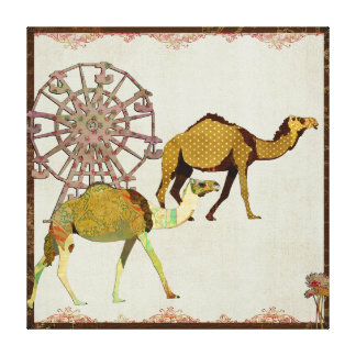 Dreamy Camels Carnival Art Canvas