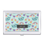 Dreamy Cat Floating in the Sky Watercolor Pattern Business Card Holder