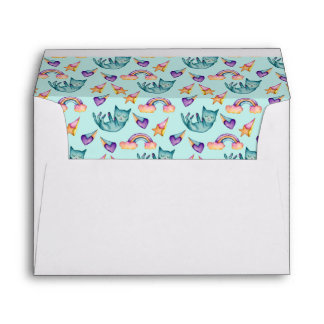Dreamy Cat Floating in the Sky Watercolor Pattern Envelope