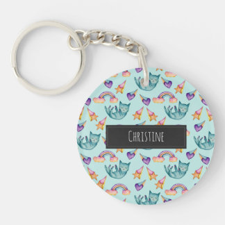 Dreamy Cat Floating in the Sky Watercolor Pattern Keychain