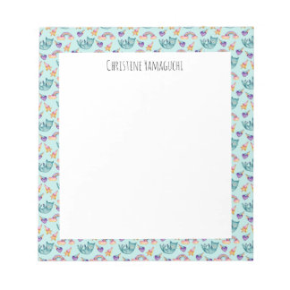 Dreamy Cat Floating in the Sky Watercolor Pattern Notepad