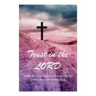 Dreamy Christian poster with cross and scripture