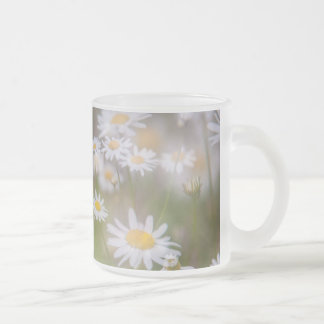 Dreamy Daisies on Summer Meadow Frosted Glass Coffee Mug