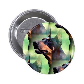 Dreamy Doberman Pinscher Face Painting 2 Inch Round Button