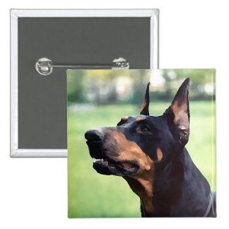 Dreamy Doberman Pinscher Face Painting 2 Inch Square Button