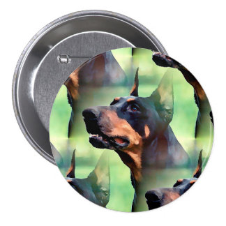 Dreamy Doberman Pinscher Face Painting 3 Inch Round Button