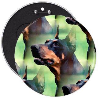 Dreamy Doberman Pinscher Face Painting 6 Inch Round Button