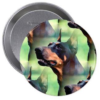 Dreamy Doberman Pinscher Face Painting 4 Inch Round Button