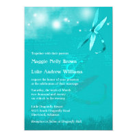 Dreamy Dragonfly Turquoise Wedding Invitation