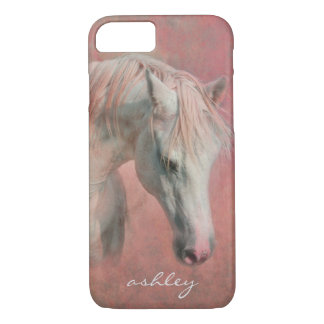 Dreamy Fantasy Horse in Pink with Monogram iPhone 7 Case