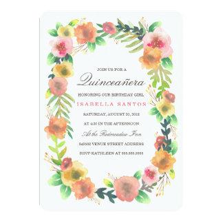 Dreamy Floral Quinceañera Card