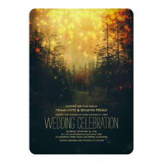 Dreamy Forest String Lights Trees Wedding Card