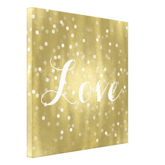 Dreamy Gold and White Confetti Bokeh Love Canvas Print