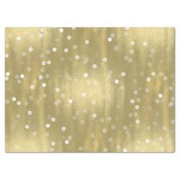 Dreamy Gold and White Confetti Bokeh Wedding Tissue Paper