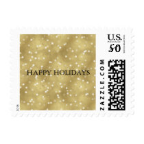 Dreamy Gold Bokeh Confetti Happy Holidays Postage
