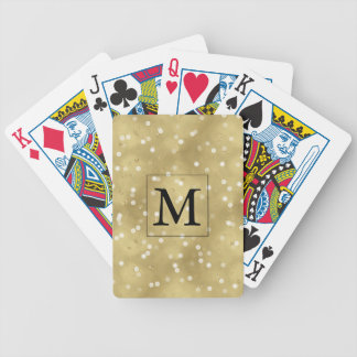 Dreamy Gold Bokeh Confetti Monogram Bicycle Playing Cards