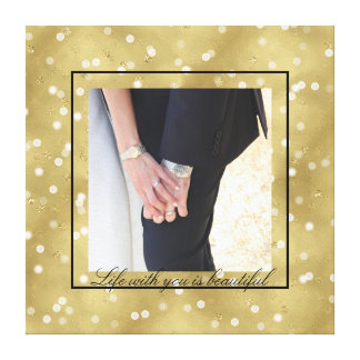 Dreamy Gold Bokeh Confetti Personalized Photo Canvas Print