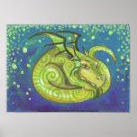 Dreamy Green Dragon swirly fantasy art Poster