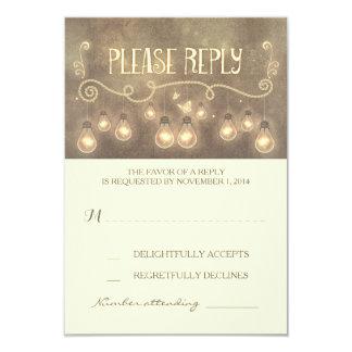 """dreamy light bulbs whimsical wedding RSVP card 3.5"""" X 5"""" Invitation Card"""