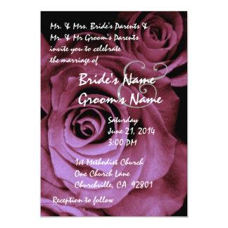 "Dreamy Magenta Pink Roses Wedding Invitation 5"" X 7"" Invitation Card"