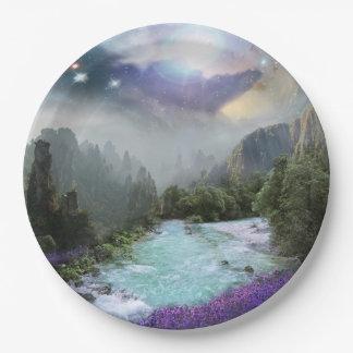 Dreamy Magical Scenic Nature Landscape Paper Plate