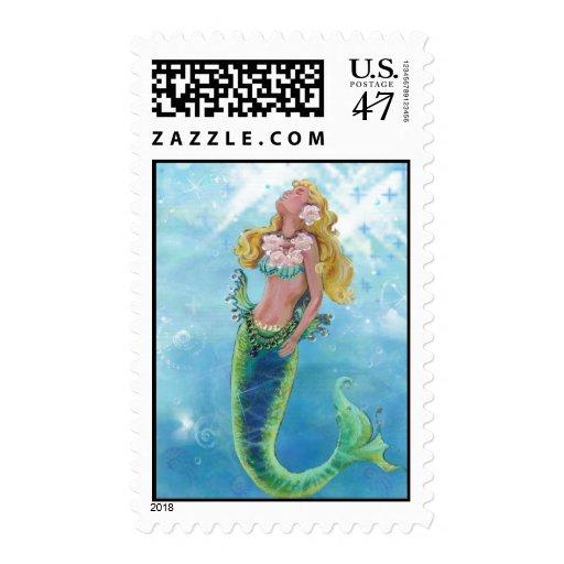Dreamy Mermaid Sparlking Sea Postage Stamps