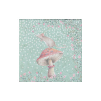 Dreamy mouse- Watercolor Illustration Stone Magnet